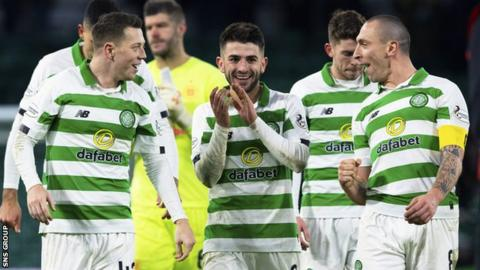Celtic moved 10 points clear at the top after thrashing Hearts on Wednesday
