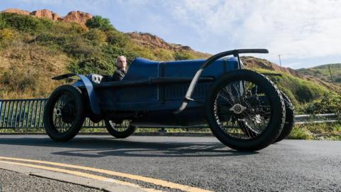 Saltburn-by-the-Sea, England, September 8: A driver takes part in the Saltburn Hill Climb, organised by Middlesbrough and District Motor Club (Photo by Ian Forsyth/Getty Images).