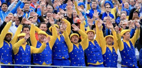 Team Europe golf fans at the 2014 Ryder Cup at Gleneagles in Scotland