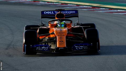 Lando Norris drives his McLaren around the Circuit de Barcelona-Catalunya during pre-season testing in Barcelona