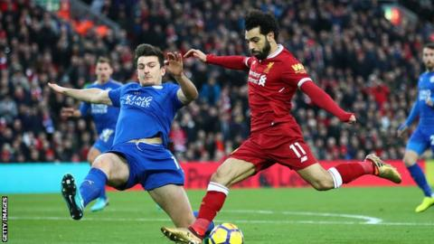 Mohamed Salah scores for Liverpool against Leicester
