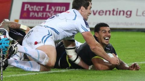 Josh Matavesi (right) celebrates his try for Ospreys during their win against Exeter in November 2015