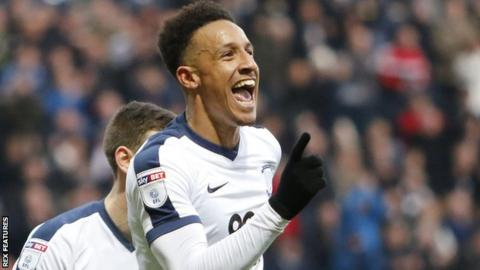 Preston striker Callum Robinson