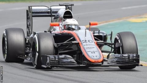 Kevin Magnussen driving a McLaren at the 2014 Australian Grand Prix