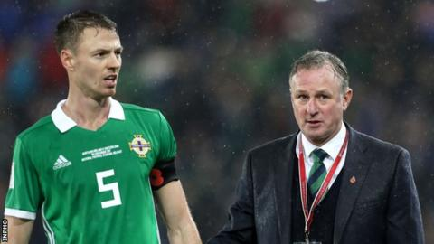 Northern Ireland Jonny Evans and Michael O'Neill
