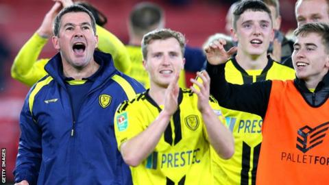 Burton Albion celebrate beating Middlesbrough