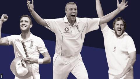 Stuart Broad, Andrew Flintoff and Ian Botham celebrate