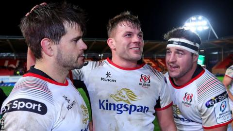 Louis Ludik, Jordi Murphy and Rob Herring celebrate after Ulster's impressive win over Scarlets