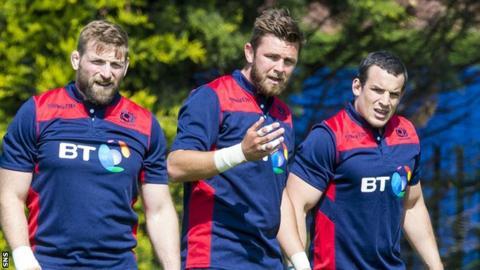 Scotland's back row: John Barclay, Ryan Wilson and John Hardie