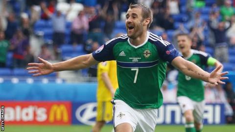 Niall McGinn celebrates scoring for Northern Ireland against Ukraine at Euro 2016