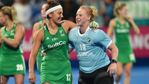 Ireland's Elena Tice and Ayeisha McFerran at the 2018 Hockey World Cup