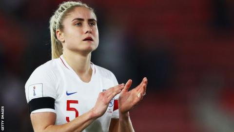 Steph Houghton applauds fans after an England game