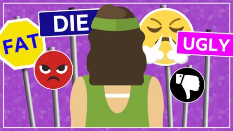A graphic showing a woman facing away, surrounded by signs saying fat, die, ugly, angry emojis and a thumbs down emoji