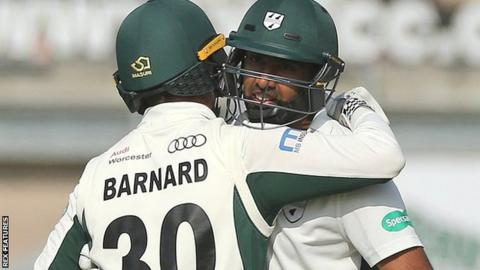Worcestershire's Ravichandran Ashwin and Ed Barnard