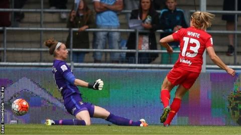 Liverpool Ladies' Rosie White scores after four minutes against Manchester City