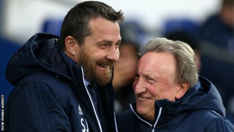 Cardiff manager Neil Warnock greets Fulham boss Slavisa Jokanovic on Boxing Day