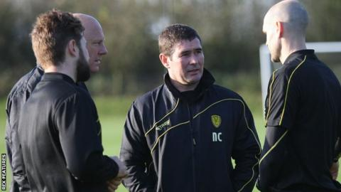 Nigel Clough (third from left) takes charge of his first session after returning to Burton Albion as manager