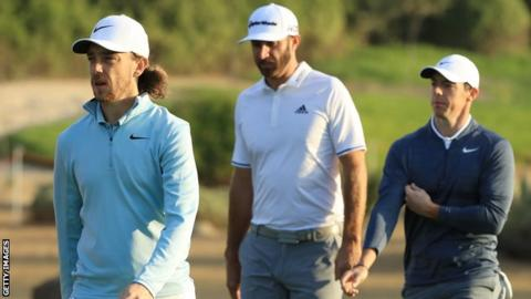 World number one Dustin Johnson (centre) and the returning Rory McIlroy (right) are in Abu Dhabi, along with defending champion Tommy Fleetwood