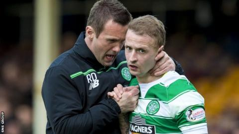 Celtic manager Ronny Deila with striker Leigh Griffiths