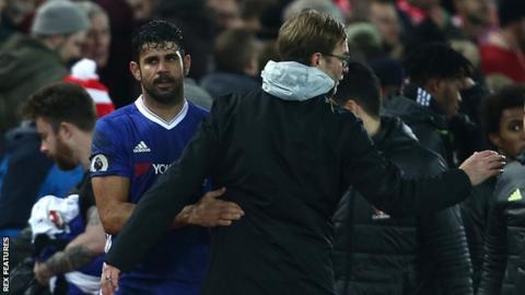 Chelsea striker Diego Costa with Liverpool manager Jurgen Klopp
