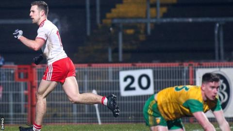 Niall Sludden celebrates his Tyrone goal on the stroke of half-time in the win over Donegal