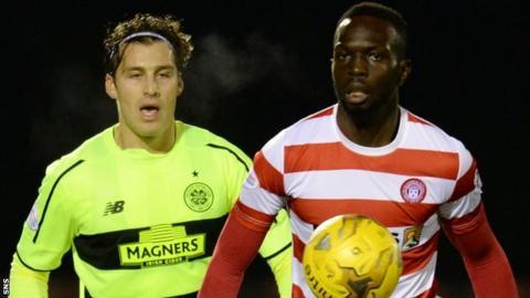 Hamilton Accies striker Oumar Diaby in action against Celtic