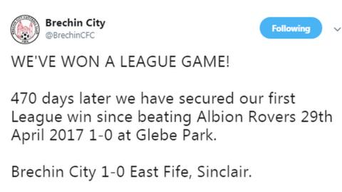 Brechin City fans' page tweet