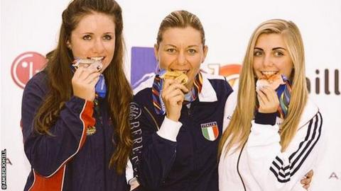 Amber Hill (right) celebrates winning bronze in Azerbaijan