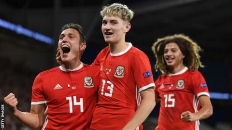 Wales' Ethan Ampadu, Connor Roberts and David Brooks