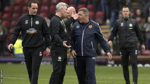 Mark McGhee interrupts the Celtic warm-up prior to the 4-3 thriller at Fir Park