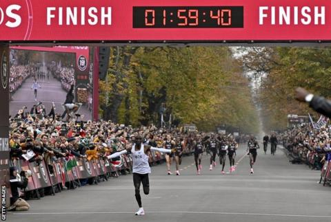 science Eliud Kipchoge completes marathon in 01:59:40