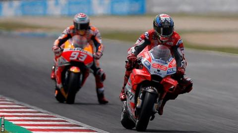 Jorge Lorenzo leads Marc Marquez at the MotoGP race in Catalunya