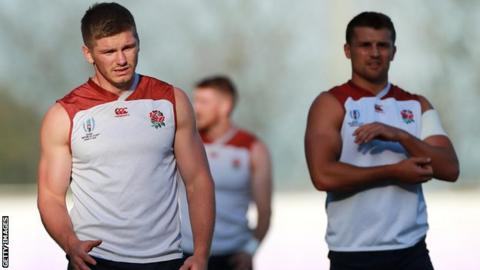 Henry Slade (right) will take Owen Farrell's place in the centre with the England captain moving to fly-half