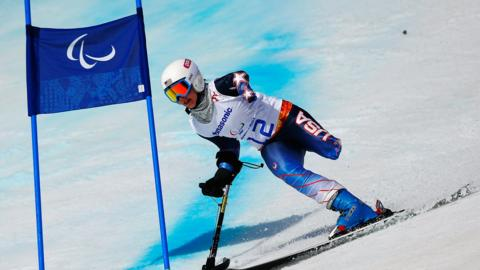 American skier Stephanie Jallen competes in the standing category