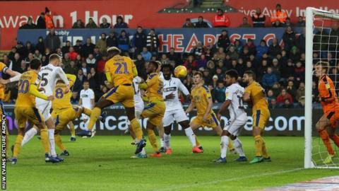 Mike van der Hoorn scores Swansea City's equaliser