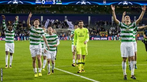 Celtic players celebrate their 3-0 win away to Anderlecht
