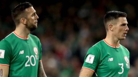 Shane Duffy and Ciaran Clark of the Republic of Ireland
