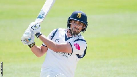 Will Rhodes in action for Warwickshire against Yorkshire