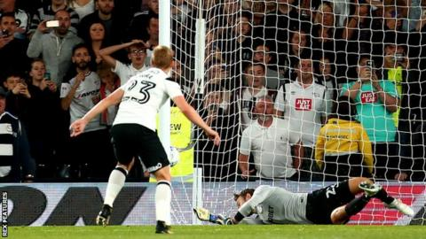 Matej Vydra scores for Derby against Preston North End