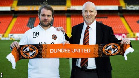 Dundee United manager Robbie Neilson and chairman Mark Ogren