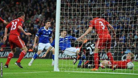 Ben Turner scoring against Liverpool