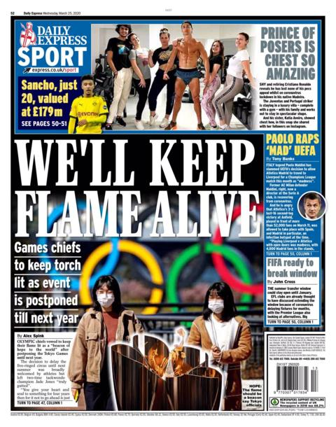 Daily Express back page for Wednesday, 25 March