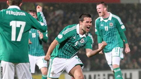 David Healy celebrates one of his 36 goals for Northern Ireland
