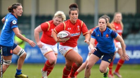 Wales women in action against France