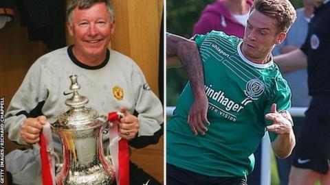 Former Manchester United manager Sir Alex Ferguson and Chippenham Town's Alex Ferguson (right)