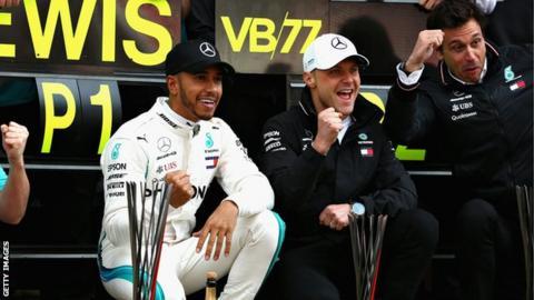 Lewis Hamilton, Valtteri Bottas and Toto Wolff