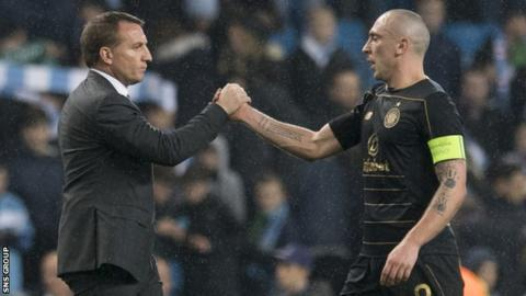 Celtic manager Brendan Rodgers with captain Scott Brown