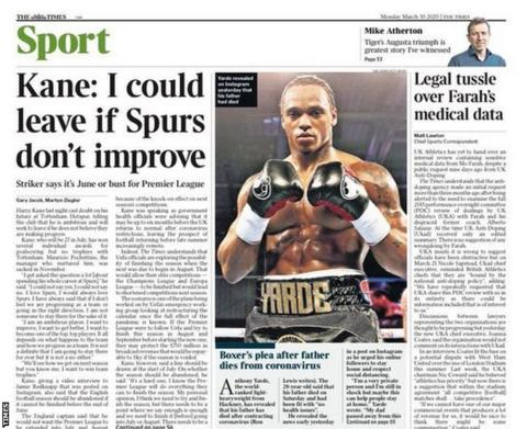 Times back page on Monday, 30 March
