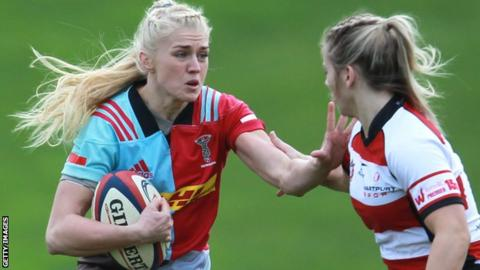 Holly Myers of Harlequins Ladies and Ffion Lewis of Gloucester-Hartpury in action