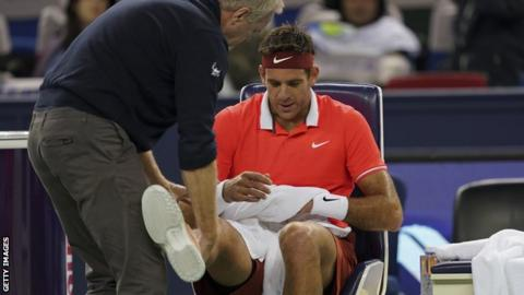 Juan Martin Del Potro Receives Treatment Courtside